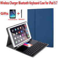 Wireless Charger Bluetooth Keyboard Cover Case for Apple iPad 9.7 2018 2017 5th/6th Generation Air 1/Air 2 Pro 9.7 Air1/Air2