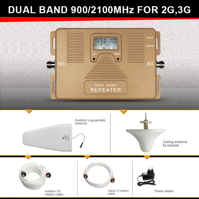 Dual band! 900/2100mhz 2G 3G cell phone signal booster with LCD display, large coverage amplifier