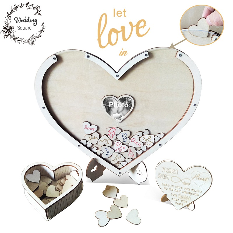 Hearts unique Wedding Decoration Rustic Sweet Wedding Guestbook Heart Drop box 3D Guest book wooden box