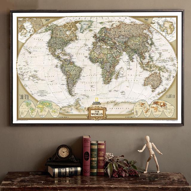 Large Vintage World Map Office Supplies Detailed Antique Poster