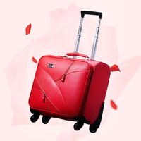 Vintage rojo casado pu equipaje de viaje, bolsa de equipaje de la carretilla Mujer en ruedas universales, novia equipaje, 20 24 pulgadas equipaje