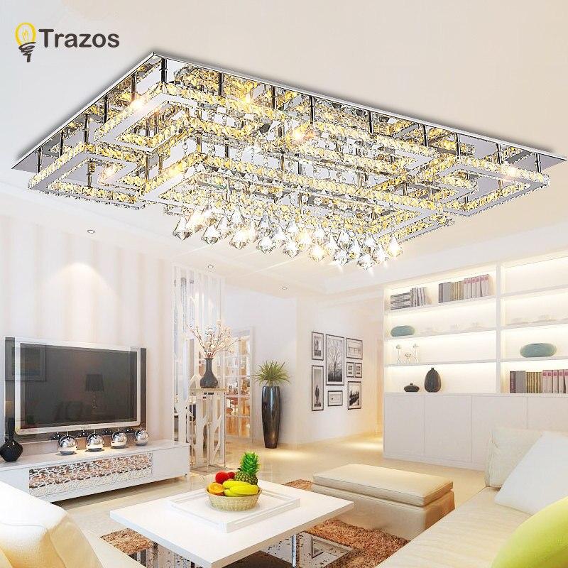 De luxe En Cristal Moderne Plafonnier Avec Abat-Jour En Verre Or Plafond Lampe pour Salon Chambre lamparas de techo abajur