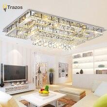 Plafonnier en cristal moderne de luxe avec abat-jour en verre plafonnier en or pour salon