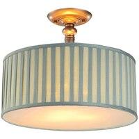 Nordic Ретро темно зеленый висит свет E27 Винтаж ткани абажур подвесной светильник барабана Спальня Гостиная светильник освещение PL540