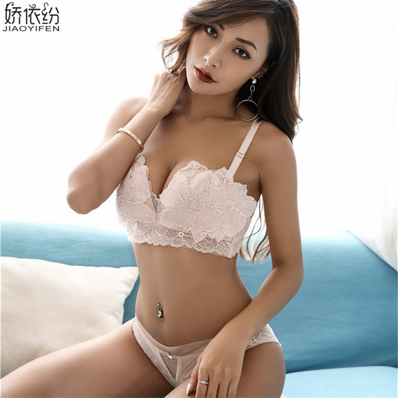 New Fashion Fine Embroidery Petal Push Up Bra Set Comfortable Seamless Underwear Sexy Lace Printing Lingerie Women Bra and Panty