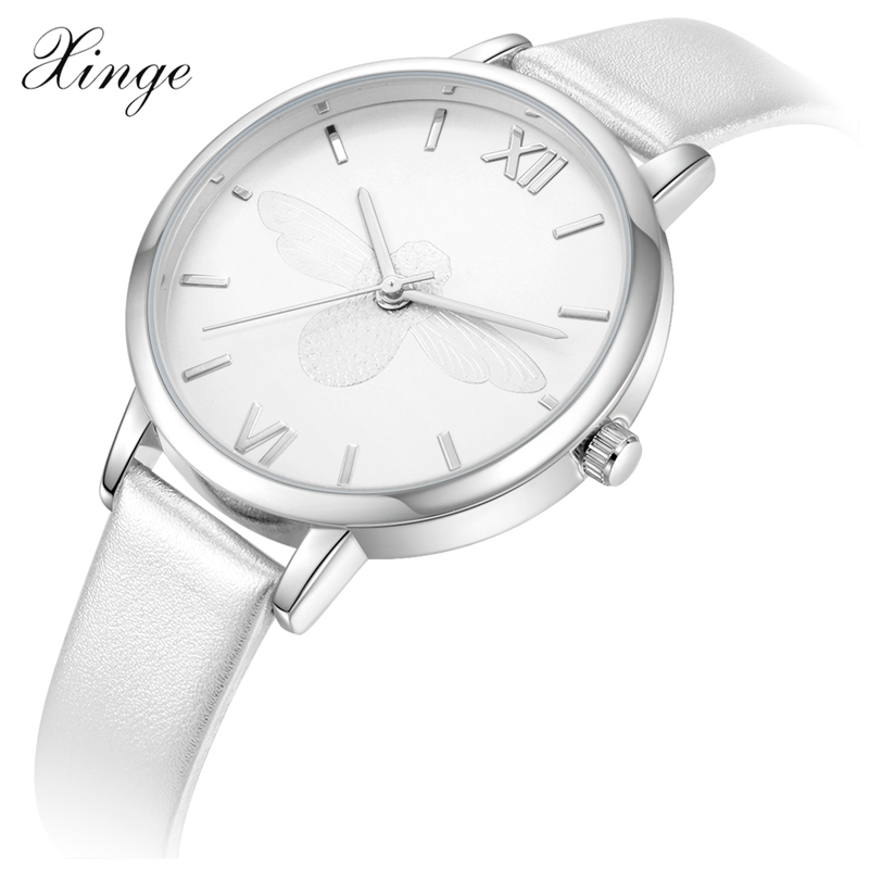2017 Fashion Xinge Top Brand Luxury Women Watches Bee Simple Leather Band Ladies Dress Quartz Wristwatches Waterproof Gift Box
