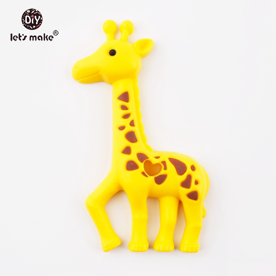 Lets Make Yellow Silicone Giraffe Teether Toy BPA Free Pendant For Nursing Necklace Making DIY Charms Silicone Teether