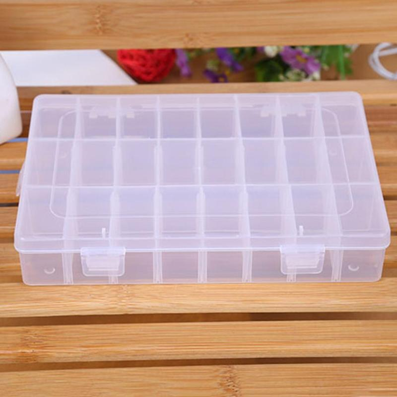 24 Compartments Plastic Storage Box Plastic Jewelry Display Case Organizer Holder Container For Rhinestone Beads Earrings