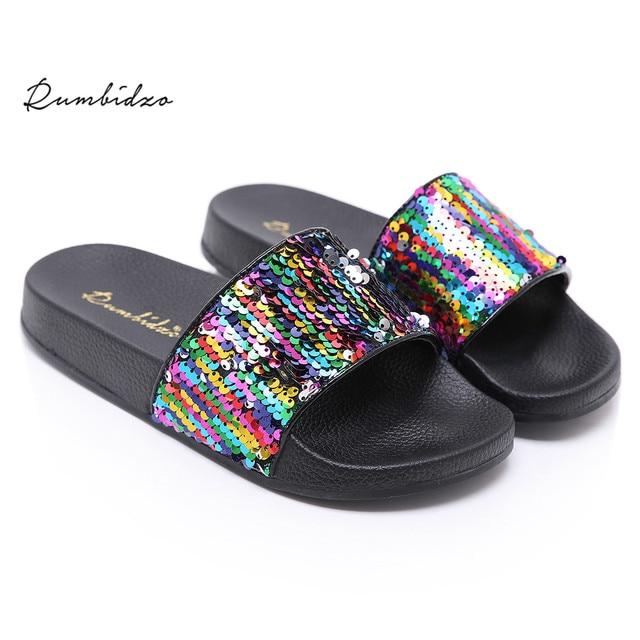 3f9713f991a260 Rumbidzo Women Fashion Sandals Sexy Ladies Bling Flat Heels Slides Sandals  Women Wedge Slip On Summer Beach Sandalias Seqins