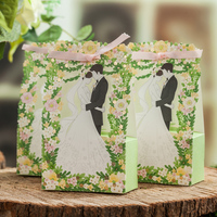 50psc Green Hollow Out Sweet Box Knot Wedding Candy Box Of High Grade Creative Candy Boxes