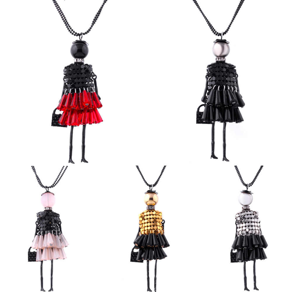Dress Doll Pendant Necklace Women Girl Crystal Beads Long Sweater Chain Statement Charm Choker Fashion Jewelry Accessories