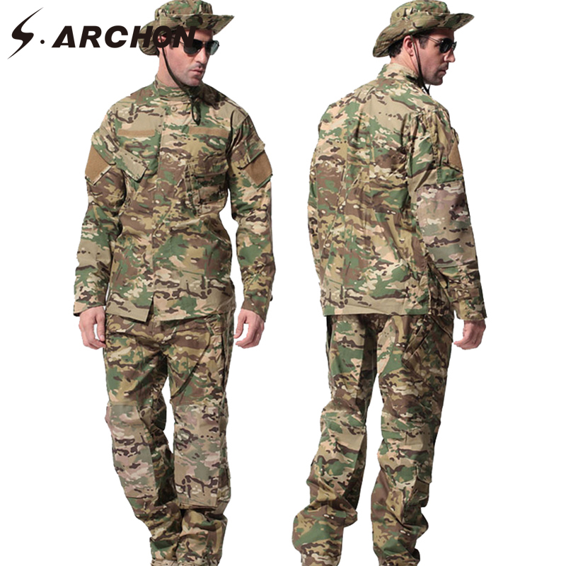 S.ARCHON US RU Army Soldier Military Uniform Set Men Tactical Multicam Camouflage Uniform Clothes Set Paintball Camo Combat Suit