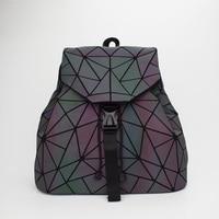 Women Laser Luminous Backpack Mini Geometric Shoulder Bag Folding Student School Bags For Teenage Girl Hologram Bao Backpack 3