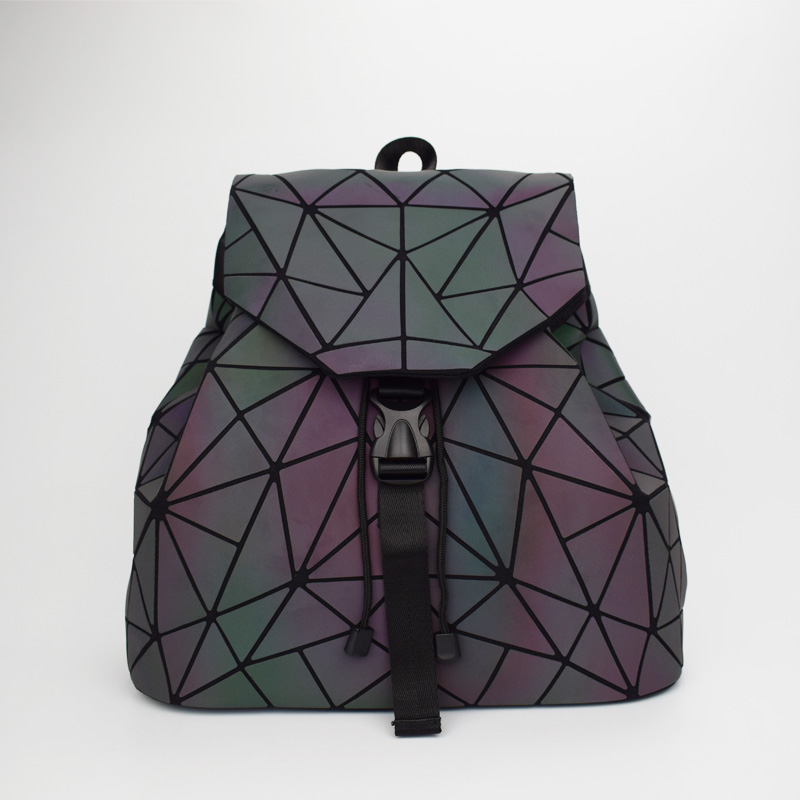 Women Laser Luminous Backpack Mini Geometric Shoulder Bag Folding Student School Bags For Teenage Girl Hologram Bao Backpack #4