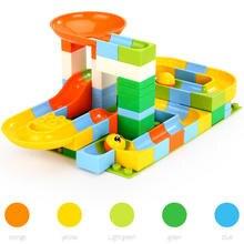 61Pcs Marble Race Run Maze Balls Track Building Blocks Funnel Slide Big Building Brick Compatible legoINGlys Duploe Toys цены