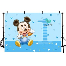 MEHOFOTO Photography Backdrop Blue Baby Mickey Boyss Birthday Party Backgrounds For Photo Studio 7x5FT Vinyl
