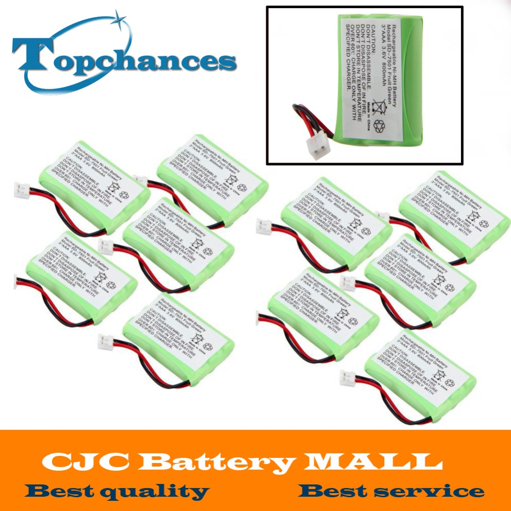 AAA 800mAh 3.6V NI-MH Rechargeable Replacement Cordless Home Phone Battery for Motorola SD-7501 Battries Pack Fruit Green US