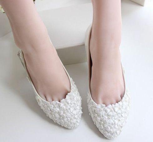 6131b234f العاج الرباط الشقق أحذية الزفاف المرأة مخصص اليدوية زائد أحجام 40 41 42  أحذية الزفاف سيدة العروسة الشقق الأحذية