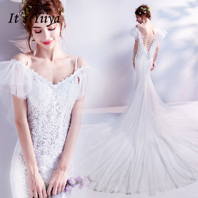 Это YiiYa свадебное платье свадебный букет Роскошные кружева белый Русалка со шлейфом Лодка шеи Puff рукава Большие размеры Свадебное платье E214