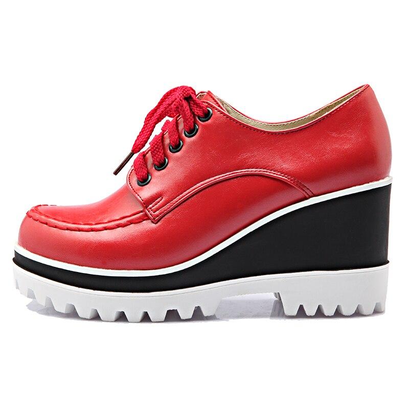S. romantiek Plus Size 34 43 Vrouwen Pompen Fashion Ronde Neus Lace Up Wiggen Med Hak Enkellaars Vrouw schoenen Zwart Wit Rood SH405-in Damespumps van Schoenen op  Groep 3