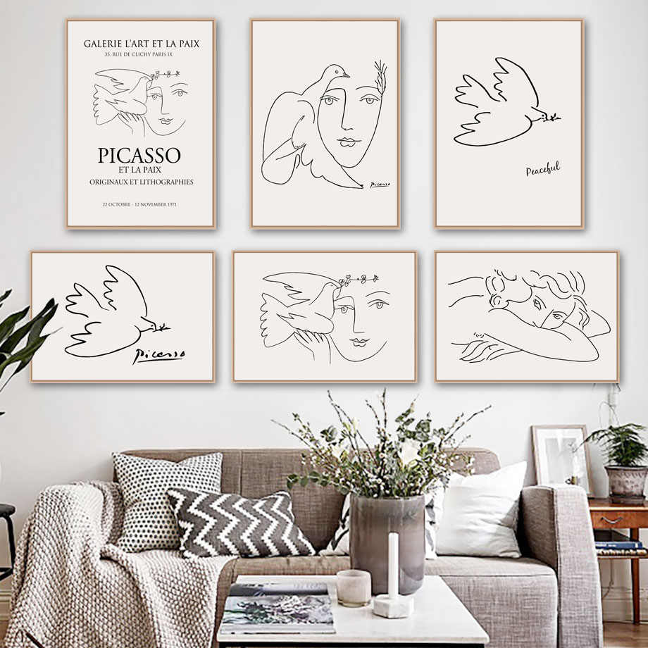 Picasso Matisse Girl Bird Line Drawing Wall Art Canvas Painting Nordic Posters And Prints Wall Pictures For Living Room Decor