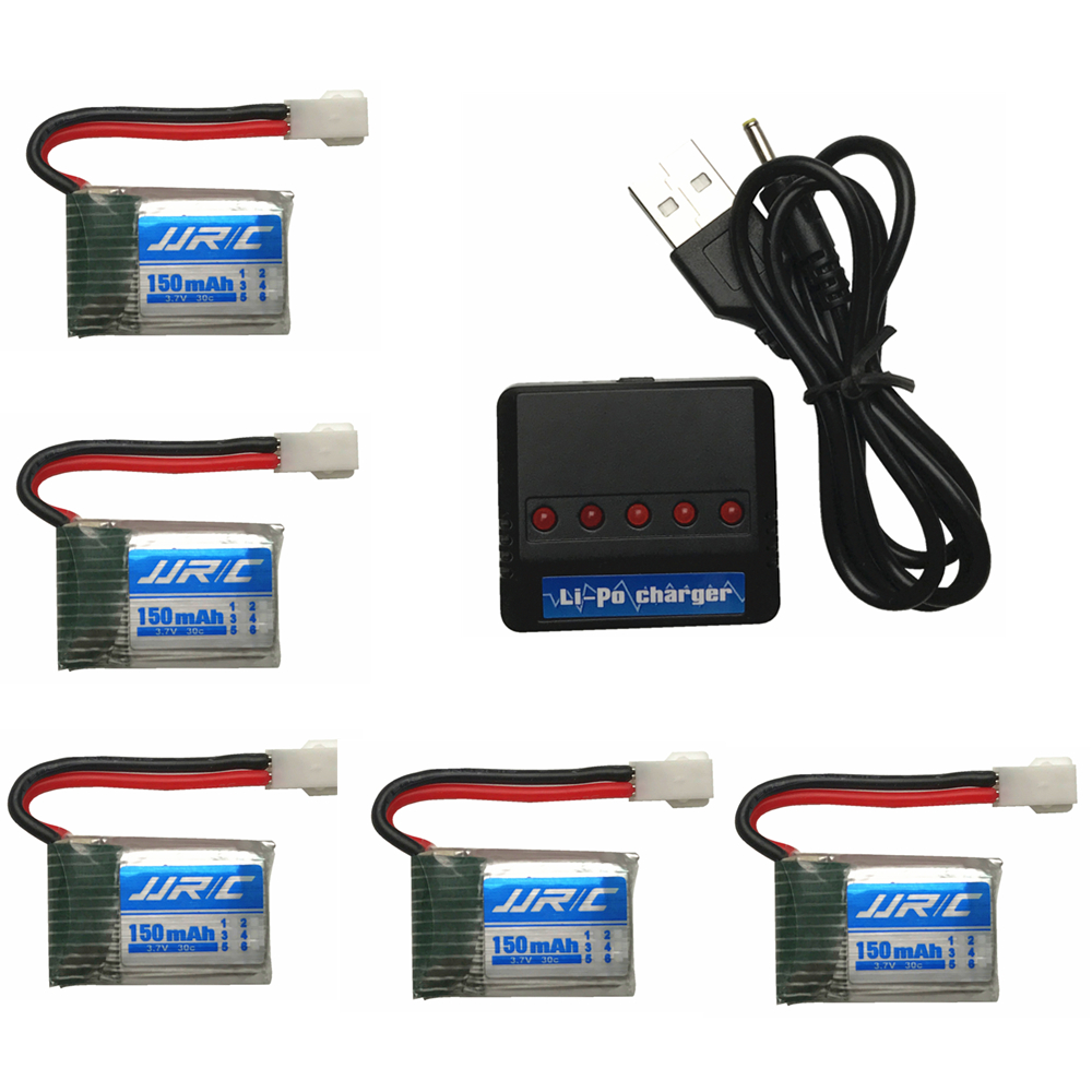 Original for JJRC H8 H48 Battery Spare Parts 3.7V 150mAh 30C Original Battery H8 mini Battery + 5in1 Cable balance Charger sets jjrc h31 battery spare parts 3 7v 400 mah 30c original lipo battery for jjrc h33 battery 5pcs with 5in1 charger