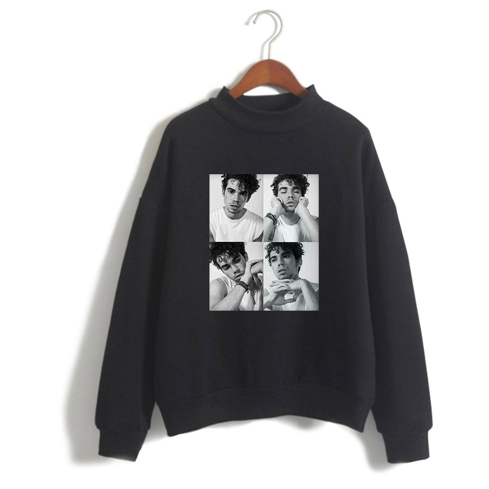 Actor Cameron Boyce Turtleneck Sweatshirt Young Female Knit Classic Black Pop Casual wear Cool Loose Cameron Boyce Collar Fleece image