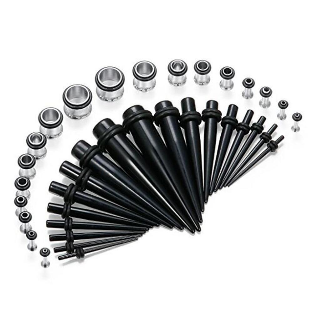 00g-14g Plugs Ear Stretching White Black Marble Acrylic Plugs 14g-00g Gauges