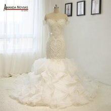 Amanda Chen short sleeves mermaid wedding dress