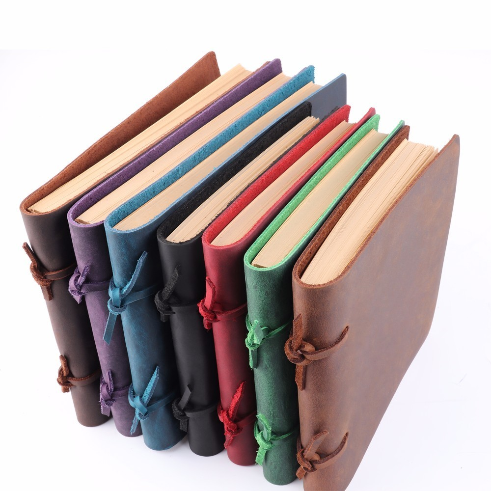 Handmade Rustic Genuine Leather Notebook Craft paper Crazy Horse Leather Diary Journals Vintage Memo Notepad