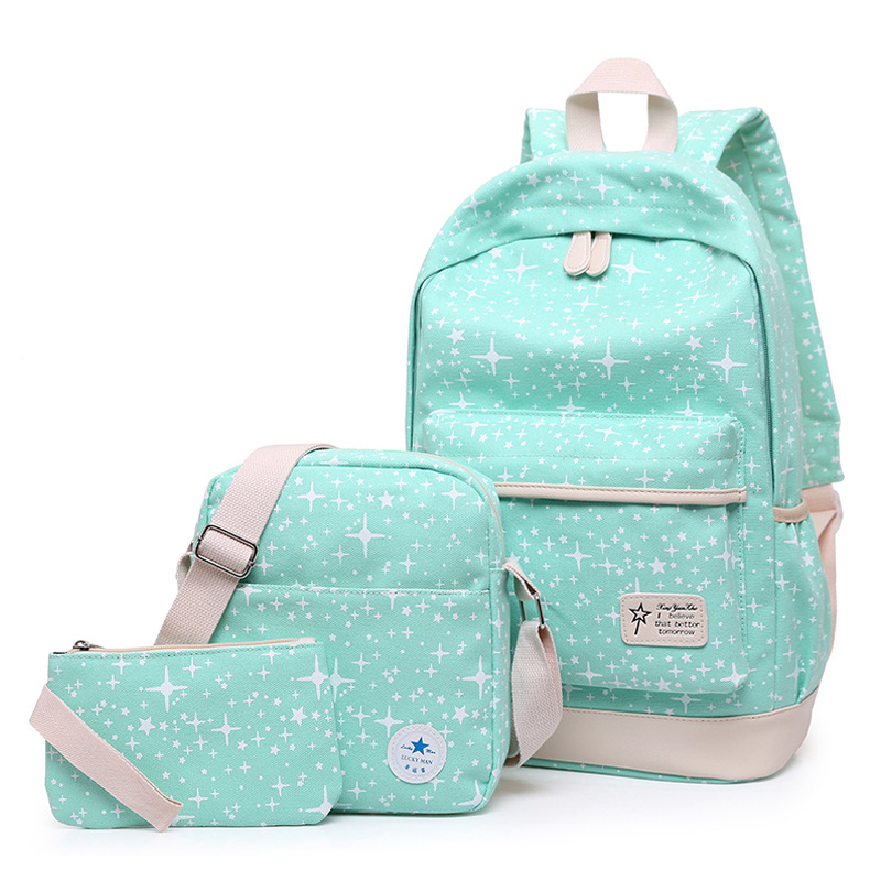 3 Pcs/set Women Backpacks Girls Canvas School Bags For High School Students Teenager Travel Bag Kids Book Bag aosbos fashion portable insulated canvas lunch bag thermal food picnic lunch bags for women kids men cooler lunch box bag tote