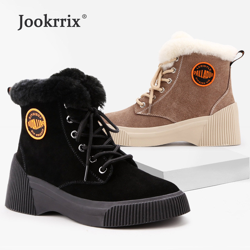 Jookrrix Winter Warm Shoes Women Fashion Brand Martin Boots Lady chaussure Autumn Female footware Real Leather Boots With Fur