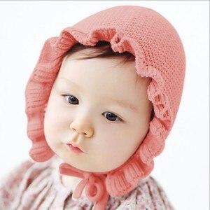 Весенние шапки для новорожденных, вязаные шапки ручной работы из шерсти, однослойные шапки в виде листика лотоса, теплые шапки для детей, Новинка