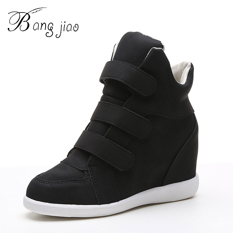 2018 Autumn Women Boots PU Leather Wedges Platform Boots Hidden Heel Shoes High Top Sneaker Casual Shoes For Woman botas mujer Сникеры