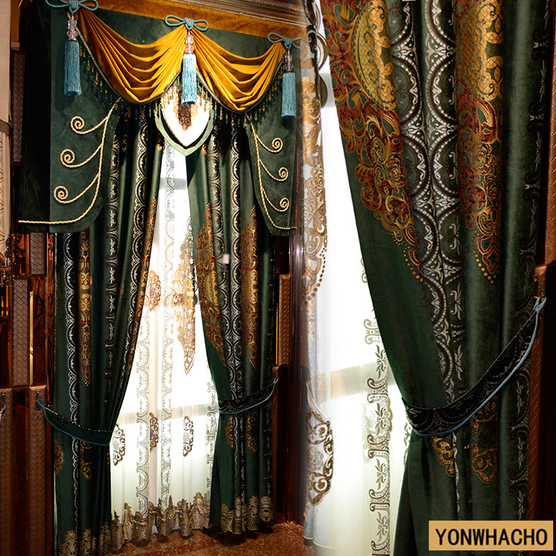 Custom curtains luxury green European gorgeous living room study American French cloth blackout curtain tulle valance N599Custom curtains luxury green European gorgeous living room study American French cloth blackout curtain tulle valance N599
