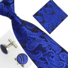 hot deal buy men's ties yellow paisley silk jacquard tie hanky cufflinks set men's business gift ties for men drop shipping