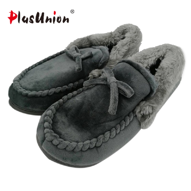 novelty cotton winter Bow tie men slippers soft keep warm solid plush home grey brown indoor shoes with fur cotton-padded shoes недорго, оригинальная цена