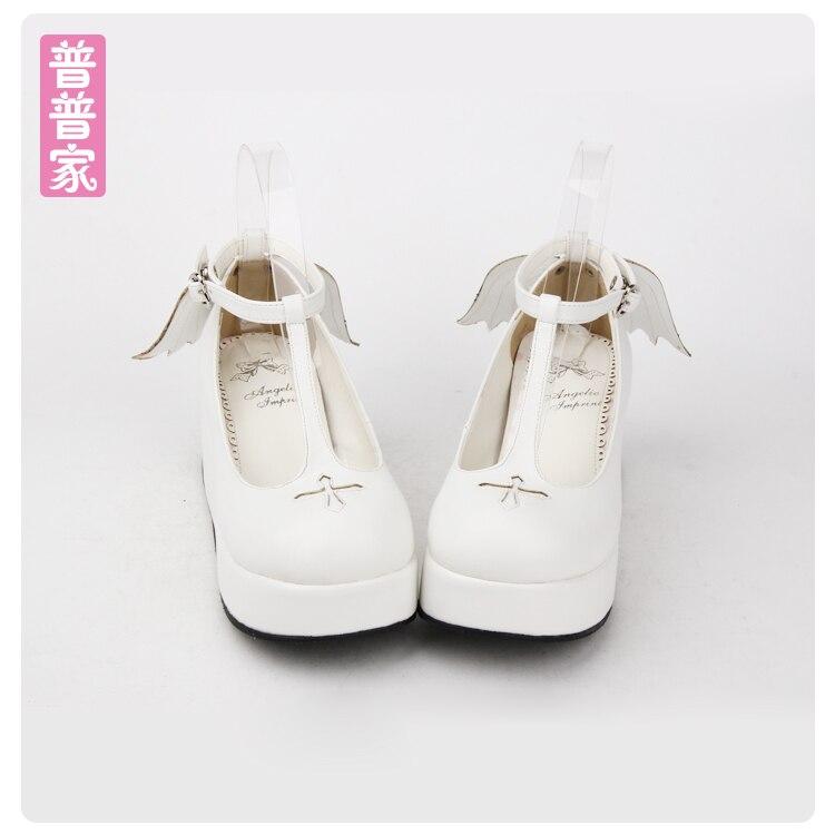 Princess sweet lolita shoes Autumn and spring Halloween sweet Lolita muffin angel wings cross princess shoes women pu8461