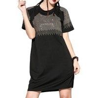 2016 Fashion Plus Size XXXL Short Sleeve Rivets Rhinestone Black Dresses Women Summer Dress Sprort Casual