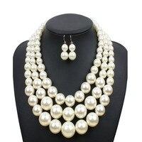 مزيج تصميم الأزياء قلادة مجوهرات مجموعة الزجاج اللؤلؤ للنساء/فتاة حفل زفاف هدية