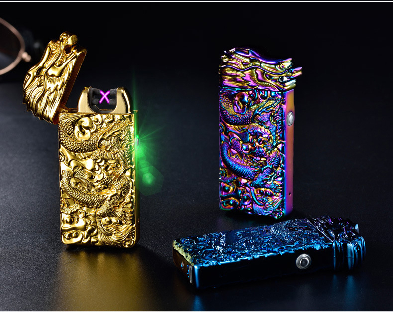 Usb-Lighter Plasma Flameless Dragon Chinese Double-Arc Windproof Relief Metal Punk-Style
