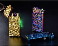 Chinesische Drachen Relief Doppel Arc Usb Leichter Plasma Winddicht Elektrische Leichter Punk Stil Metall Flammenlose Zigarette Leichter