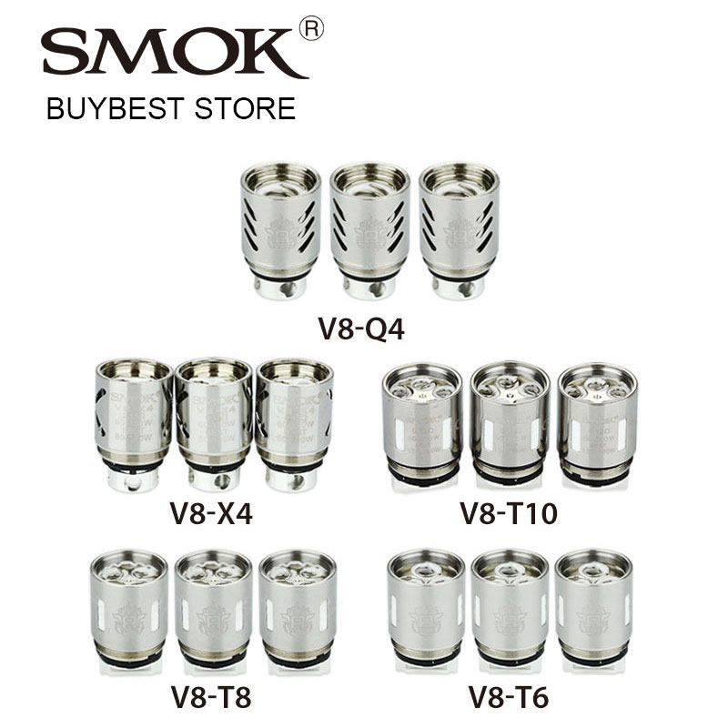 3pcs SMOK TFV8 Coils V8-X4/V8-Q4/V8-T6/V8-T8/V8-T10 Core Decuple/Quadruple/Sextuple/Octuple Head for TF-V8 Beast Tank Atomizer база tfv12