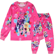 2019 childrens suit spring and autumn new female baby pajamas cartoon children long sleeve two-piece