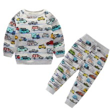 цена на Baby Boys Cartoon Clothing Sets Children Winter Clothes Cartoon Cars Printed Warm Sweatsets for Baby Boys Girls Kids Clothes