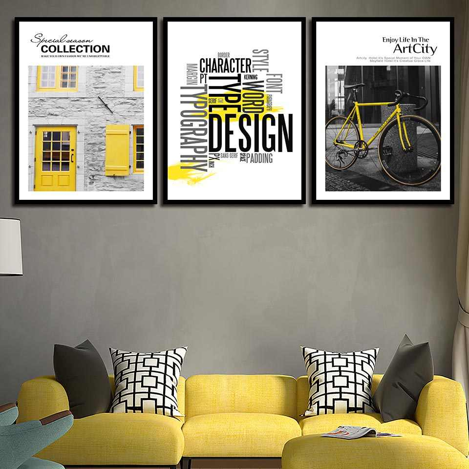 Nordic Canvas Poster Yellow Bike Doors Windows House Painting Abstract Photo Pop Art Prints Quotes Pictures Room Wall Home Decor