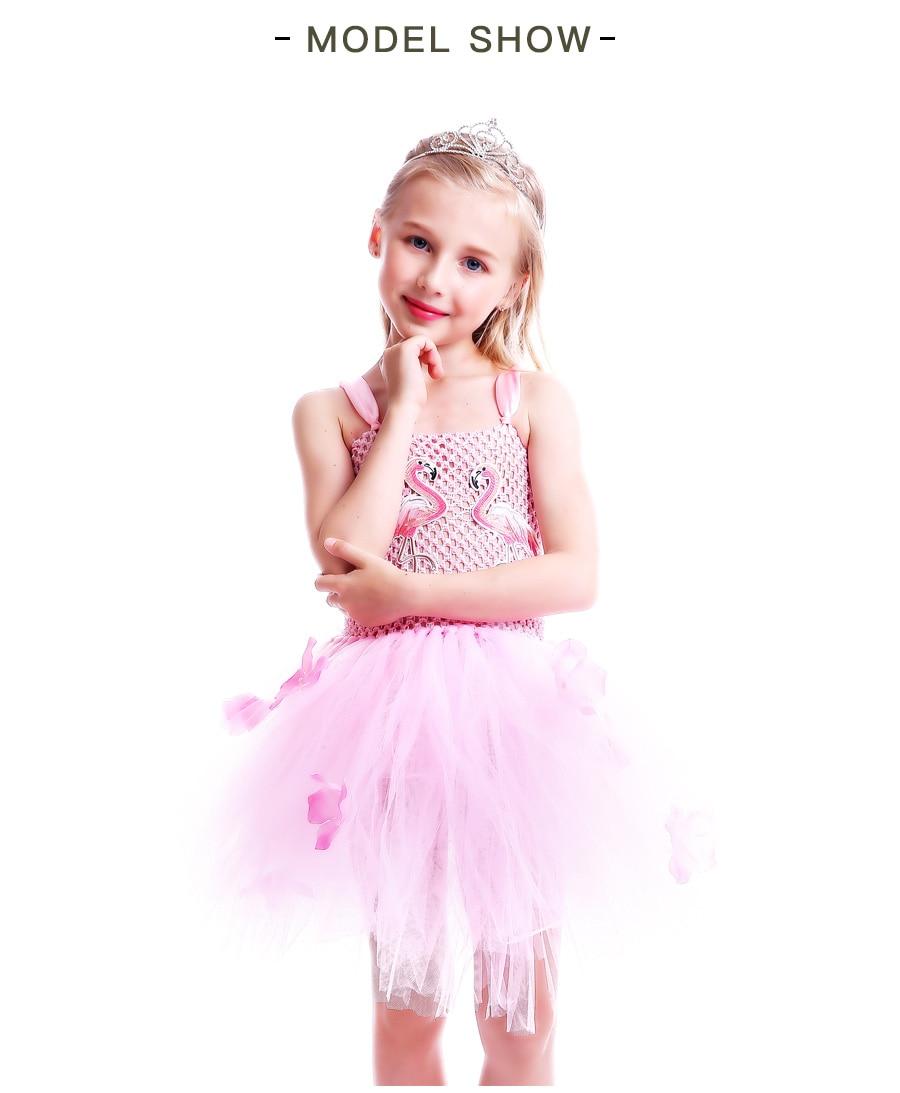 Girls Flamingo Princess Dress Pink Flower Tulle Clothes Kids Birthday Party Dresses 2018 Brand Animal Costume Flamingo Vestidos (11)