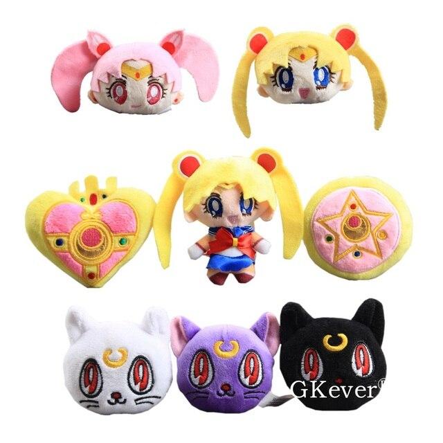 Sailor Moon 8 pçs/set Pingente de Pelúcia com Chaveiro Anime Bonito Mini Bonecos Macios Presente Das Meninas