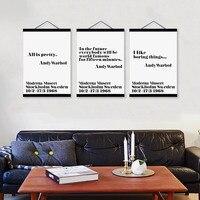 מודרני מינימליסטי טיפוגרפיה אנדי וורהול ציטוטים עץ הפליל בד ציור בית תפאורה אמנות קיר קולב פוסטר להדפיס תמונות