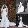 Attrayant 2019 dentelle robe de mariée sirène femmes fille robe de mariée mariée fête chérie avec trompette Fit et Flare trou de serrure retour